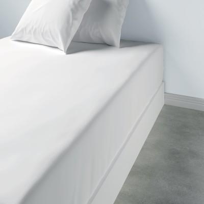 Drap housse uni Coton Blanc 180 x 200 x 35
