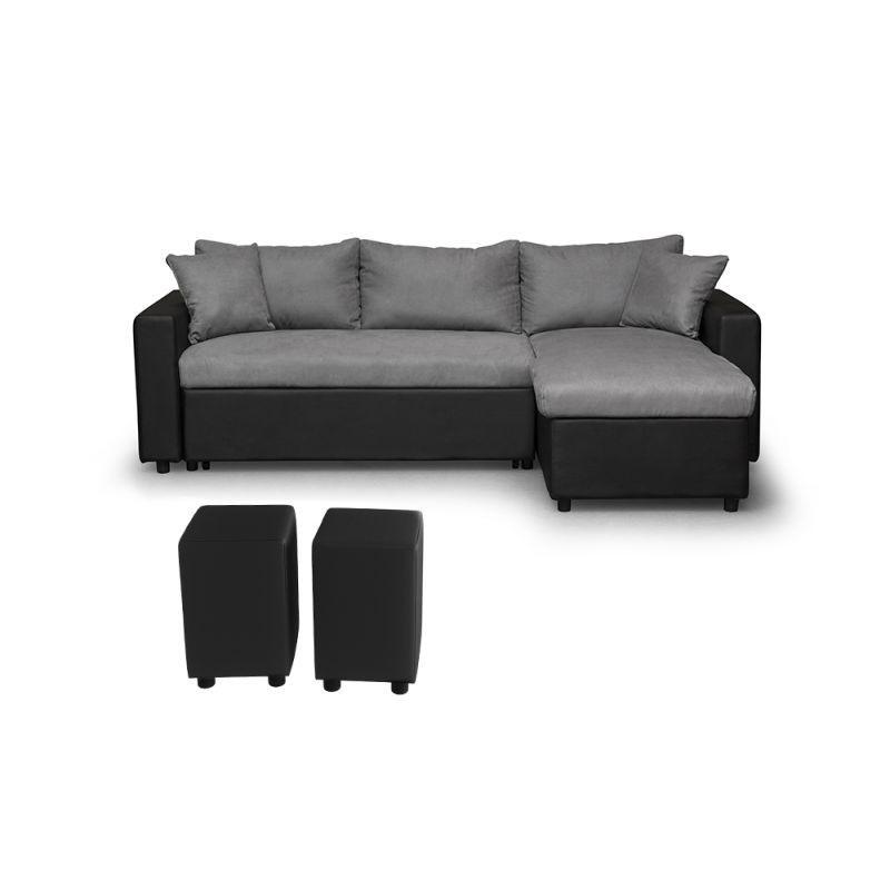 Canapé d'angle réversible, convertible, coffre de rangement + 2 poufs  MADRID