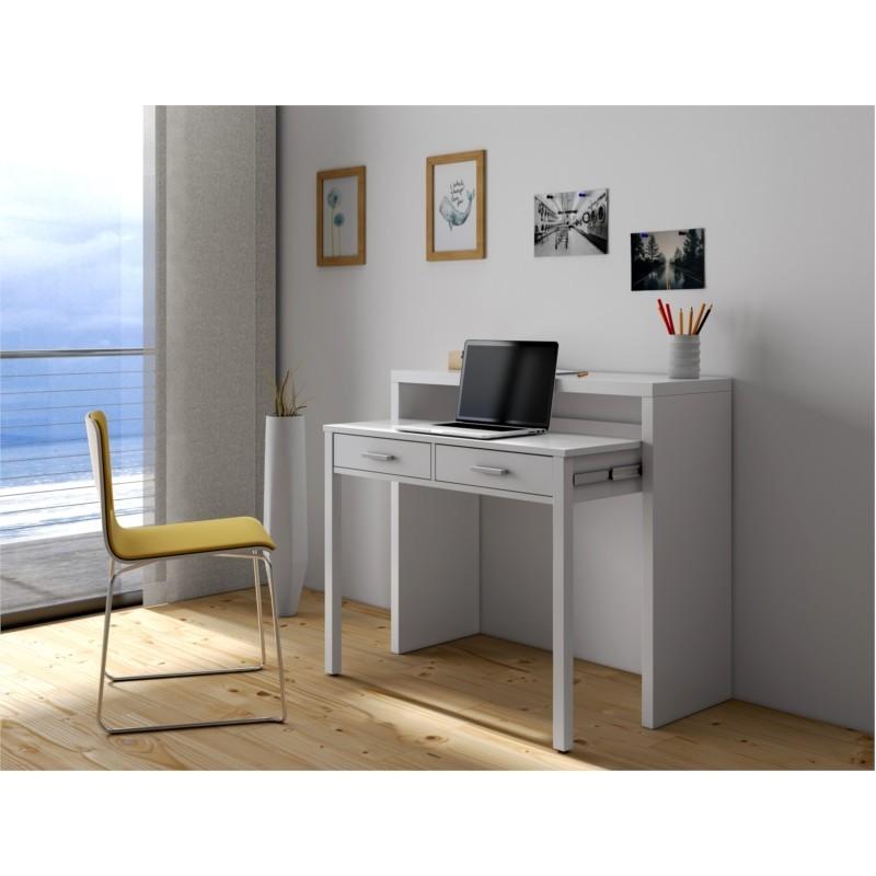 Bureau console extensible 2 tiroirs L100 cm CLEM
