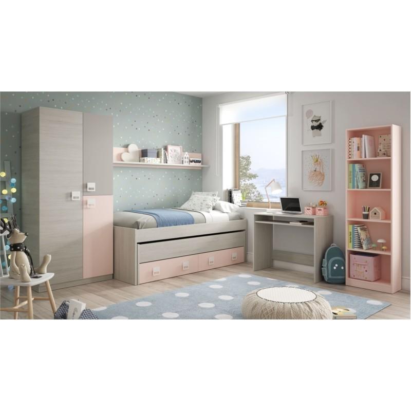 Lit enfant gigogne AMBRE (190x90 + 180x90) sans sommier, avec 2 tiroirs et 1 étagère