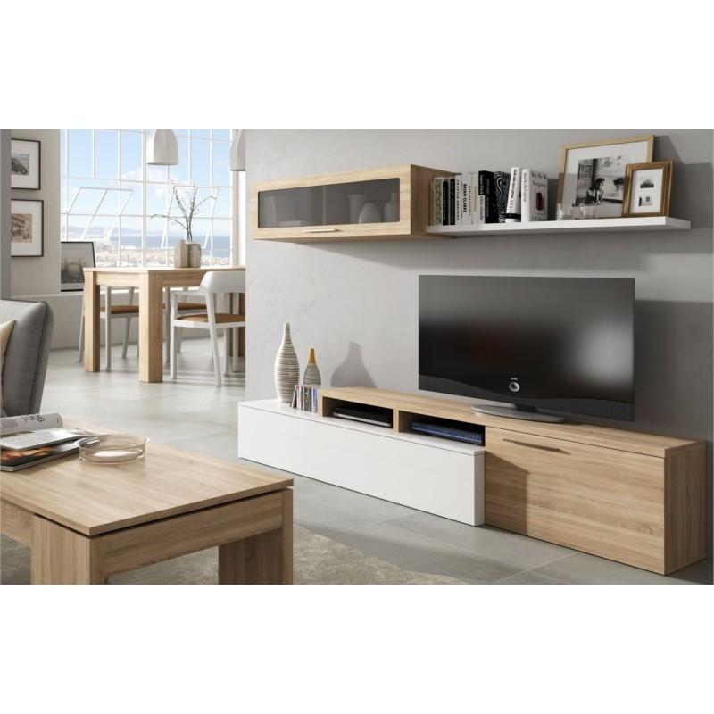 Meuble TV ESME 2 portes avec étagère murale L200 cm