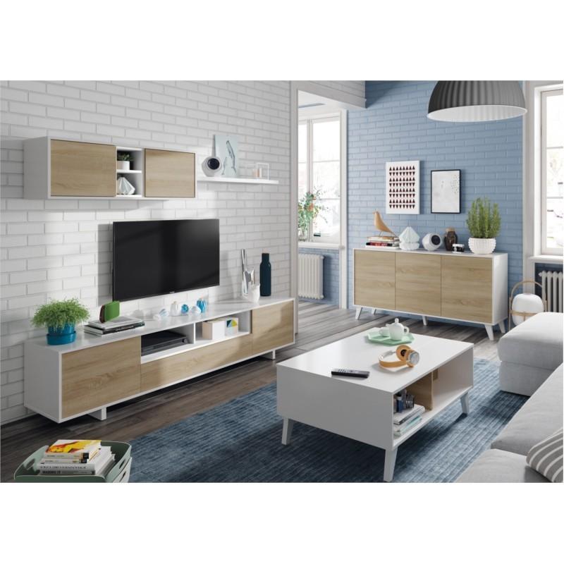 Meuble TV DINA 3 portes avec 1 niche et étagère murale L200 cm