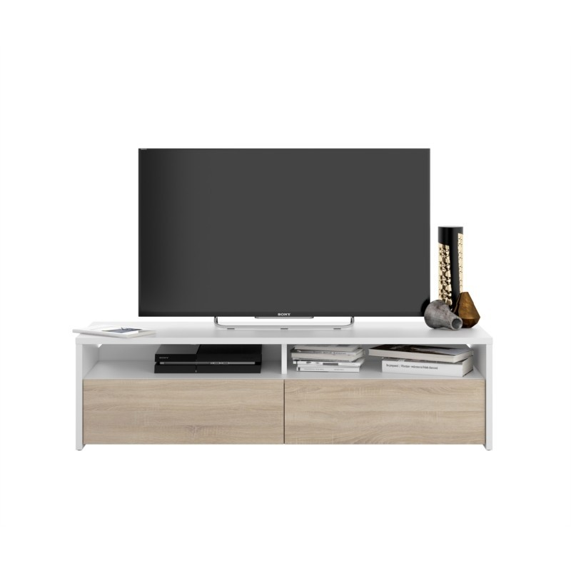 Meuble TV 2 portes battantes et 2 niches de rangement L130 cm LOLA
