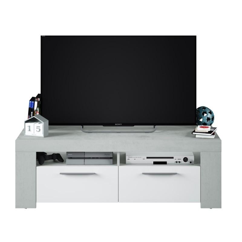 Meuble TV avec 2 portes et 2 niches de rangement L120 cm WENDY