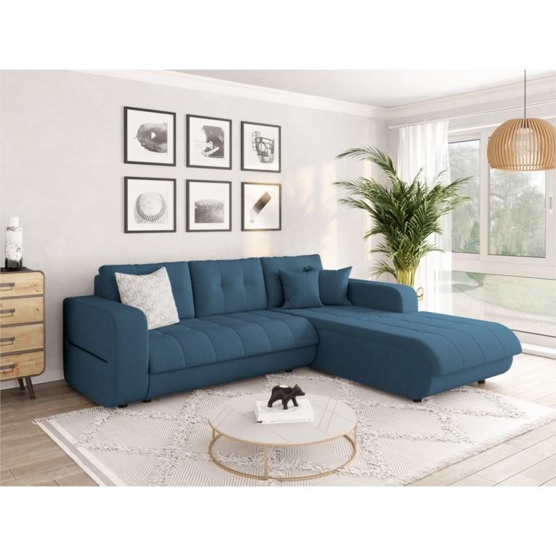Canapé d'angle convertible 4 places en tissu CELINE
