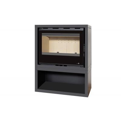 INSERT POÊLE A BOIS AVEC SUPPORT BOX Classic Vision modèle SL-140VBOX porte Battante 13kW Ventilation 2 vitesses
