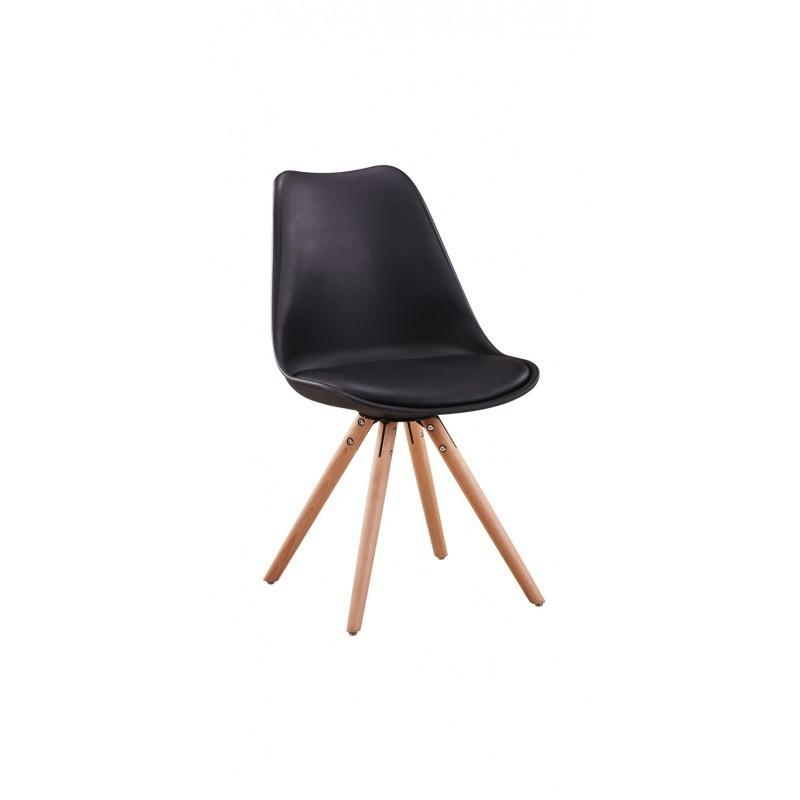 La NORWOOD  lots de 2 chaises scandinaves en polypropylène coussin simili